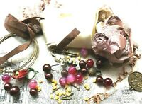 Inspiration pack ribbons wire findings pyrite beads glass pearls flowers clasp