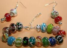 Murano Glas Beads 925 Silber Hülse, Armband + Ohrhaken, , Armband versilbert