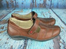 Wolky Florence Brown Leather T Strap Loafers Shoes $175 Women's Size: 38 / 7.5