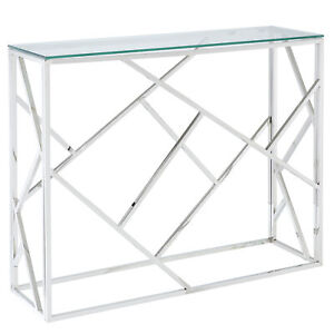 Eloise Geometric Design Box Shape 8mm Tempered Glass Top Console Table in Silver