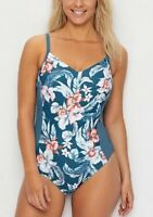 Azura PETROL South Pacific Cross Back Underwire One-Piece Swimsuit, US 8