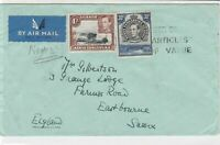 Uganda 1939 to sussex england air mail stamps cover ref 21469