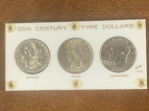 20th Century Morgan Peace Eisenhower Type Dollars Set in Capitol Plastic holder