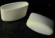 4 Fussstopfen/Gleiter/Stuhlbeinkappen, 41 x 16 mm, für Ellipsenrohre, Weiß