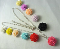 WOW Stunning!  A Classic Rose Flower Charm Pendant, Silver Colour Chain Necklace