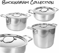 Buckingham Prestage Induction S/Steel Casserole Stock Soup Pot Stew Saute Pan
