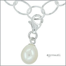 Genuine Pearl In Sterling Silver Clip On Charm #94114