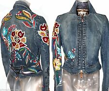 Roberto Cavalli Distressed Denim Floral Embroidery Beaded Crystal Lace up Jacket
