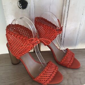 Wittner Racquel Heel Size 37/38 Odd Pair Orange Netted Block Shoes