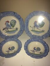 Set of 4 Los Angeles LA Pottery N.S. Gustin Blue Rooster Dinner Plates Bowls