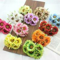 6X Artificial Silk Gerbera Daisy Flower Fake Bouquet Decors Home Fashion A0L1