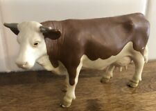 "1999 Schleich Brown & White Cow 5"" Steer Horns Utters"
