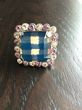 Marc Jacobs Apricot Rose and Blue Gingham Ring Size 7