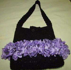 Original OOAK Hand Made in USA Crochet Ruffled Purse Hobo Bag Black Purple