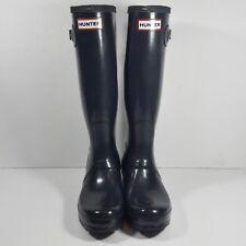 HUNTER Original Tall High Gloss NAVY Blue Rain Boots Women's size 7 US VGUC 7.5