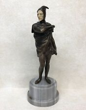 Antique Italy European Bronze Figurine Sculpture on Marble Stand