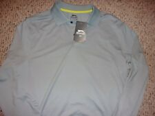 NWT NEW Slazenger Mens M Gray Dura Long Sleeve Polo Shirt Golf Golfing UPF30