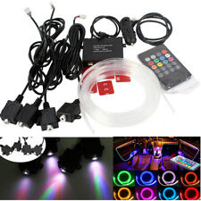 Universal 4x RGB LED Inside Car Remote Ambient Neon Light Strip + 4m Optic Fiber