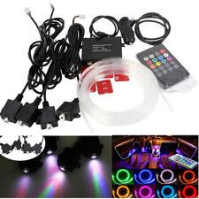 Universal 4x RGB LED Inside Car Remote Ambient Neon Light Strip + 4m Optic Fiber