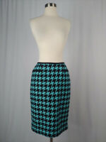 Carlisle Size 4 Blue Black Wool Cashmere Houndstooth Knit Pencil Skirt