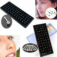 60Pcs Crystal Rhinestone Bone Stud Stainless Steel Body Piercing Nose Jewelry