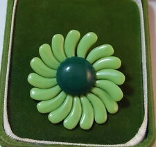 Vintage 1950's 3D Moveable Green Petal Flower Glass Bead Brooch Pin  4b 57