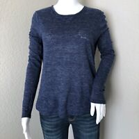 Vince Women's Long Sleeve Top Size Small Blue 100% Linen Heathered Basic Layer