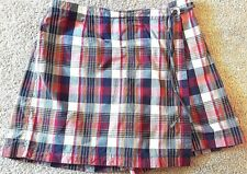 Ann Taylor Womens Multi Plaid Wrap Front Side Tie Shorts 10