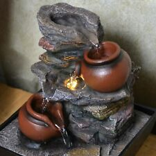 Pots Cascade Indoor Water Fountain with LED Light Tranquil Water Feature NEW IN