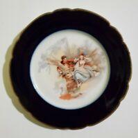 """Antique Jean Pouyat JP Limoges cobalt blue gold rim 8.5"""" plate"""