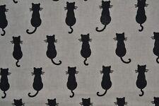 Tissu ameublement fantaisie petits chats noirs disponible au metre