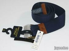 $50 POLO RALPH LAUREN D-RING COTTON/LEATHER BELT NAVY S