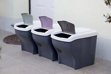3 poubelles pour Le tri sélectif, Assorties, 3 x 20 L élégante robuste empilable