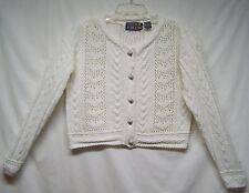 Paris Sport Club World Wide Sz M Sweater White Ramie Cotton Crop Heart Buttons