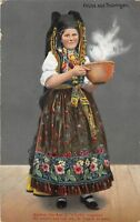 GG4847 gruss aus thuringen types folklore costumes woman    germany