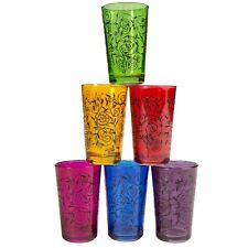 Moroccan Full-Color Tea Glasses, Set of 6