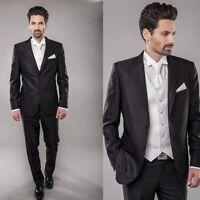 New Black Groom Tuxedos Notch Lapel Bridegroom Best Man Wedding Suit Custom Made