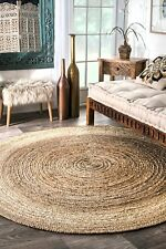 Natural Round Area Jute Rug Braided  Hardwood Floor Rug 240x240 Cm