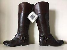 $428 FRYE Melissa Harness Colorblock Tall Brown Knee High Inside Zip Boots Sz 6