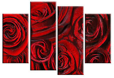 LARGE RED ROSE ROSES FLORAL FLOWER CANVAS PICTURE WALL ART MULTI 4 PANEL 100cm
