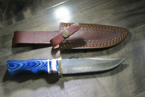 Large Damascus Bowie knife w blue wood & ceramic handle & leather sheath