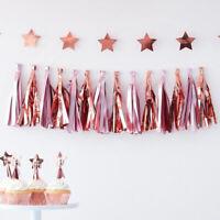Pink & Rose Gold Tassel Garland Baby Shower Party Decoration Girls Birthday 1.5m