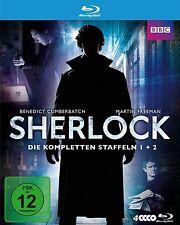 SHERLOCK Holmes -Staffel 1 & 2 BENEDICT CUMBERBATCH Martin Freeman 4 Blu-Ray Box