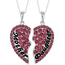 Mother Daughter Heart Necklace Set Pink Crystal Pendants Girls Ladies 19""