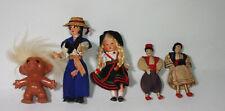 Lot of 5 small Vintage dolls -  dolls house dolls - troll - cloth sailor costume
