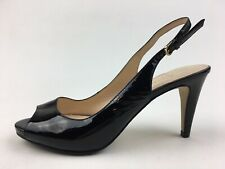 COLE HAAN Margot Peep Toe Slingback Heels Size 5 B,Black Patent 2292
