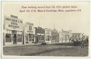 1915 Goodridge, Minnesota REAL PHOTO Five Month Old Town, Signs, Storefronts