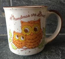 "VTG 70s Owl Ceramic Mug ""GRANDMAS ARE GREAT"" EXCELLENT RETRO GRAPHICS KITSCH"