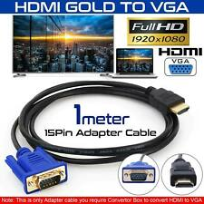 HDMI Lead to Laptop Cable Adapter HD VGA 15Pin 1080P Converter Male Monitor UK ~