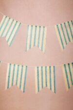 BHLDN Blue White Seaside Striped Paper Pennants Wedding Shower Reception Decor